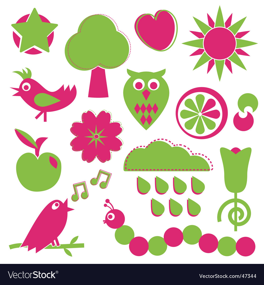 Pink and green nature elements vector | Price: 1 Credit (USD $1)