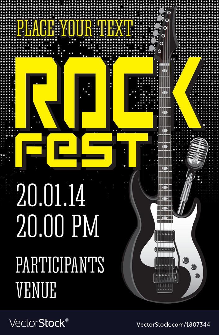 Rock festival design template with guitar vector | Price: 1 Credit (USD $1)