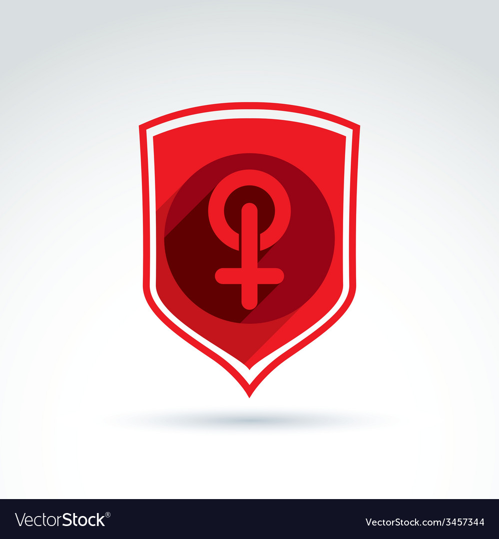 Shield with a red female sign woman gender symbol vector | Price: 1 Credit (USD $1)