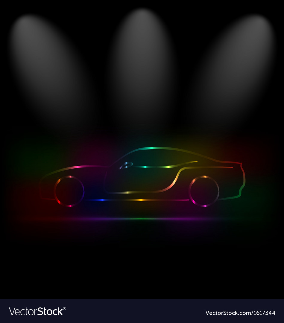 Silhouette of colorful car in darkness vector | Price: 1 Credit (USD $1)
