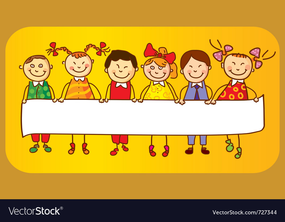 Six kids with sign vector | Price: 1 Credit (USD $1)
