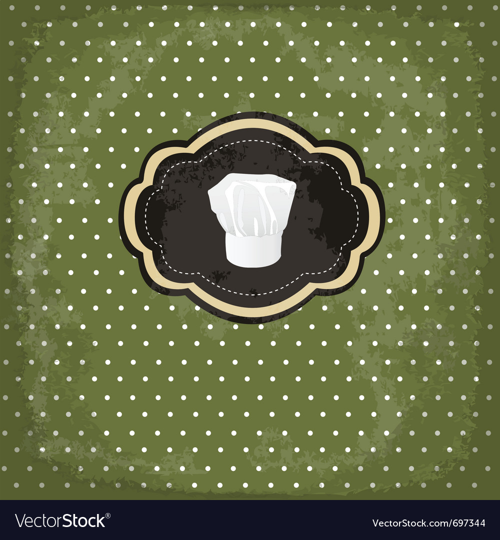 Vintage design card with chef hat frame vector | Price: 1 Credit (USD $1)