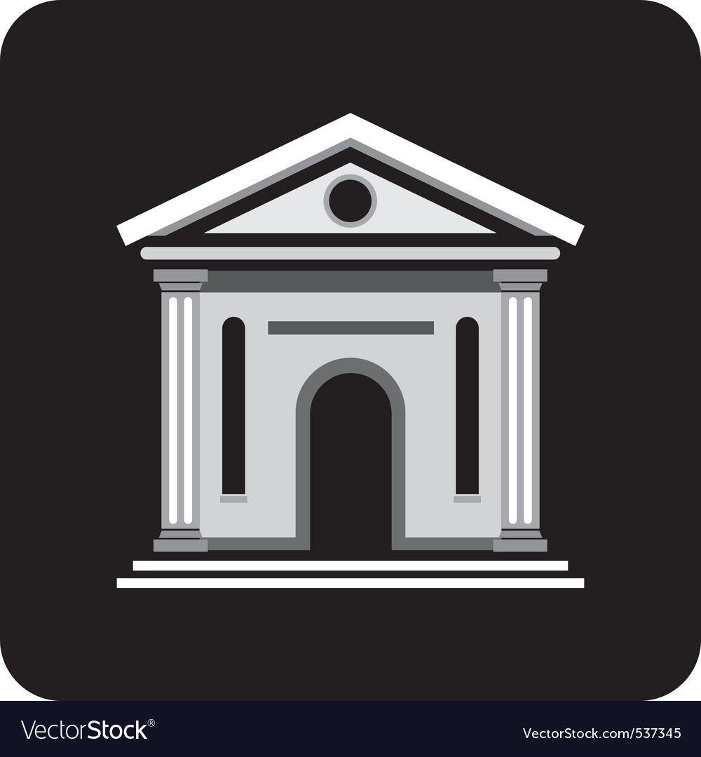Building with columns on a black background archit vector | Price: 1 Credit (USD $1)