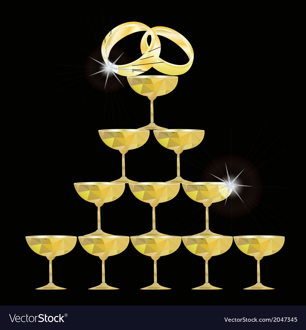Champagne glasses and wedding rings vector   Price: 1 Credit (USD $1)