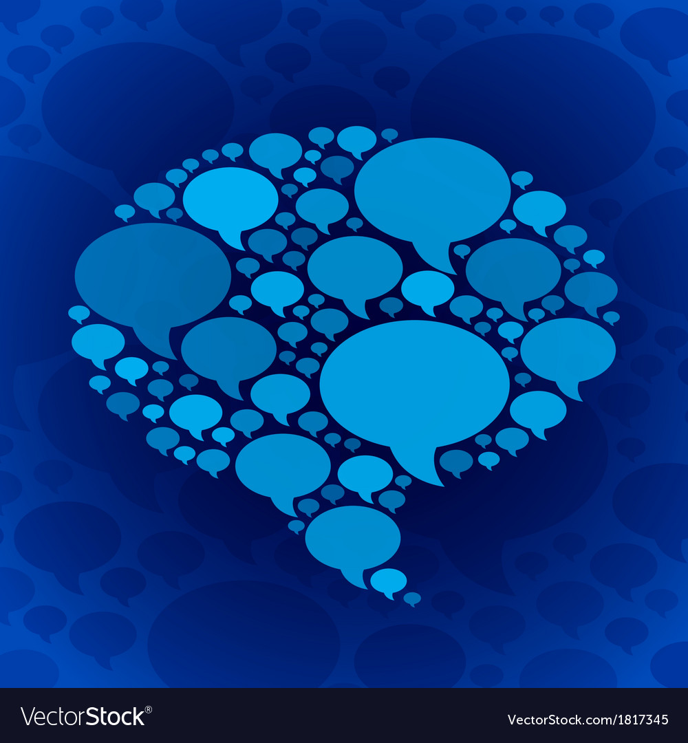 Chat bubble symbol on blue background vector | Price: 1 Credit (USD $1)