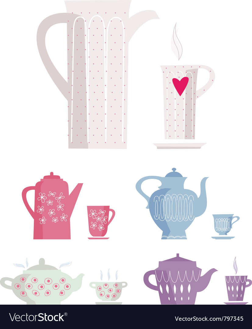 Cup and kettle vector | Price: 1 Credit (USD $1)