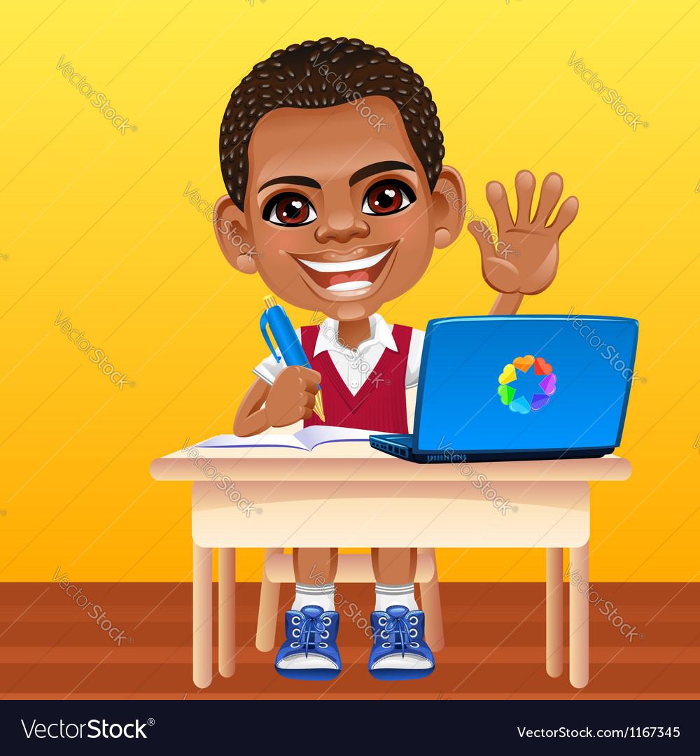 Happy smiling african schoolboy vector | Price: 3 Credit (USD $3)