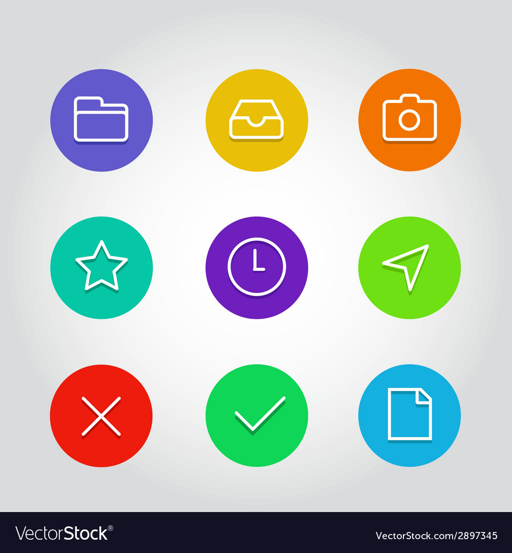 Outline icon set with clock arrow and navigation vector | Price: 1 Credit (USD $1)
