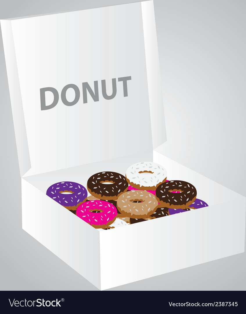 Paper box full of colorful donuts eps10 vector | Price: 1 Credit (USD $1)