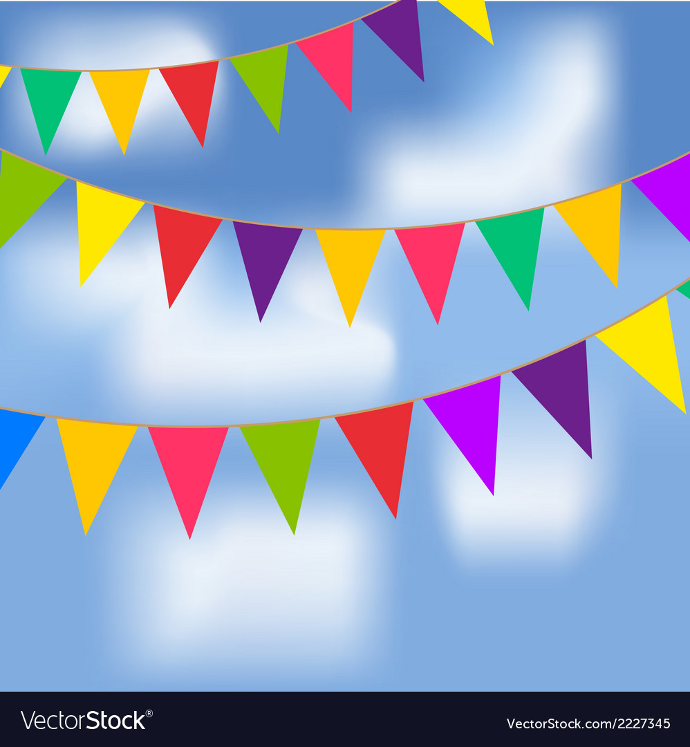 Party flags with blue sky and white clouds vector | Price: 1 Credit (USD $1)