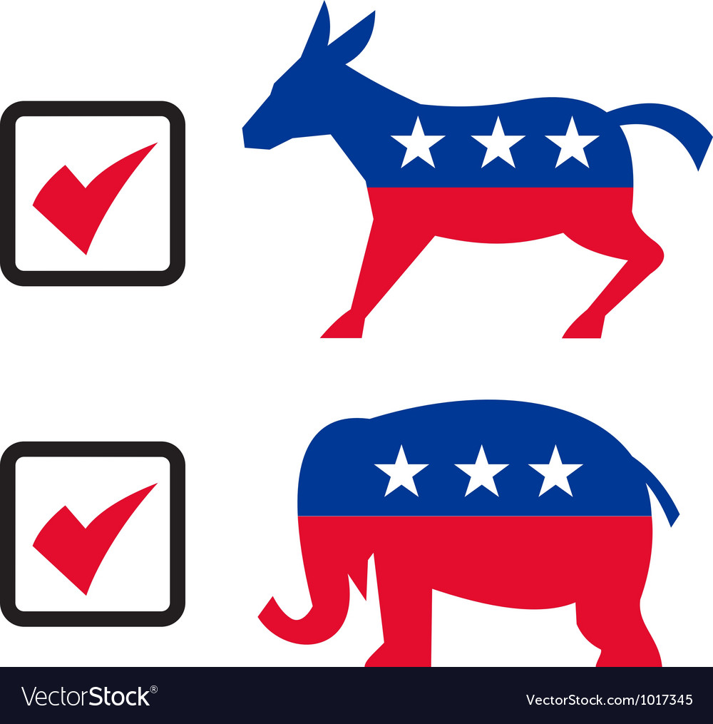 Republican elephant democrat donkey election vector | Price: 1 Credit (USD $1)