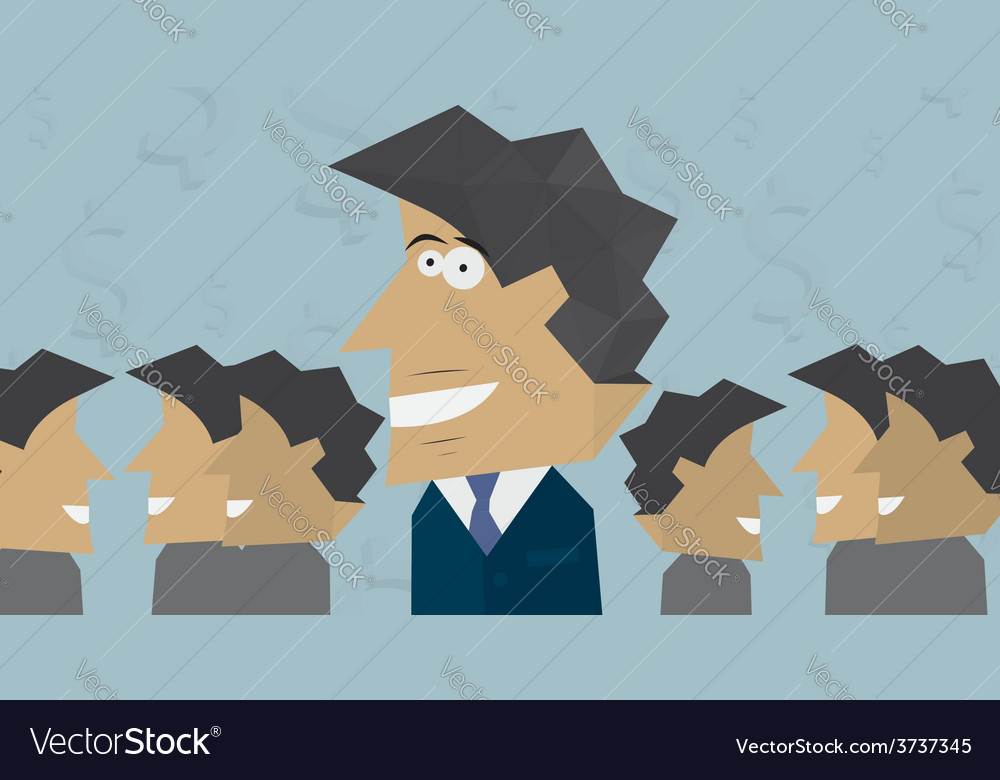 Smiling businessman with colleagues vector   Price: 1 Credit (USD $1)