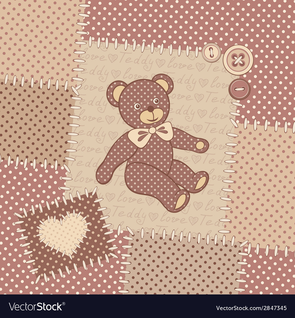 Vintage greeting card with teddy bear vector | Price: 1 Credit (USD $1)