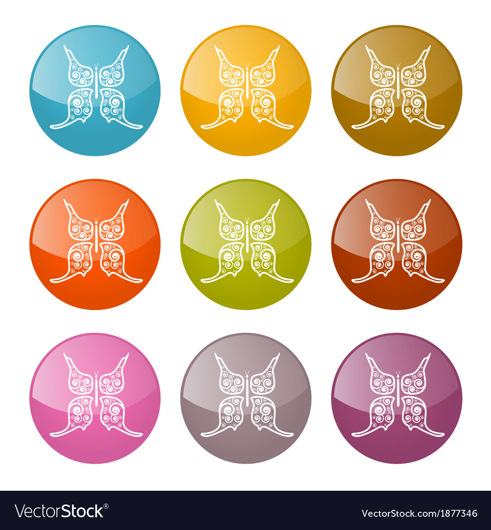 Butterflies icons colorful set vector | Price: 1 Credit (USD $1)
