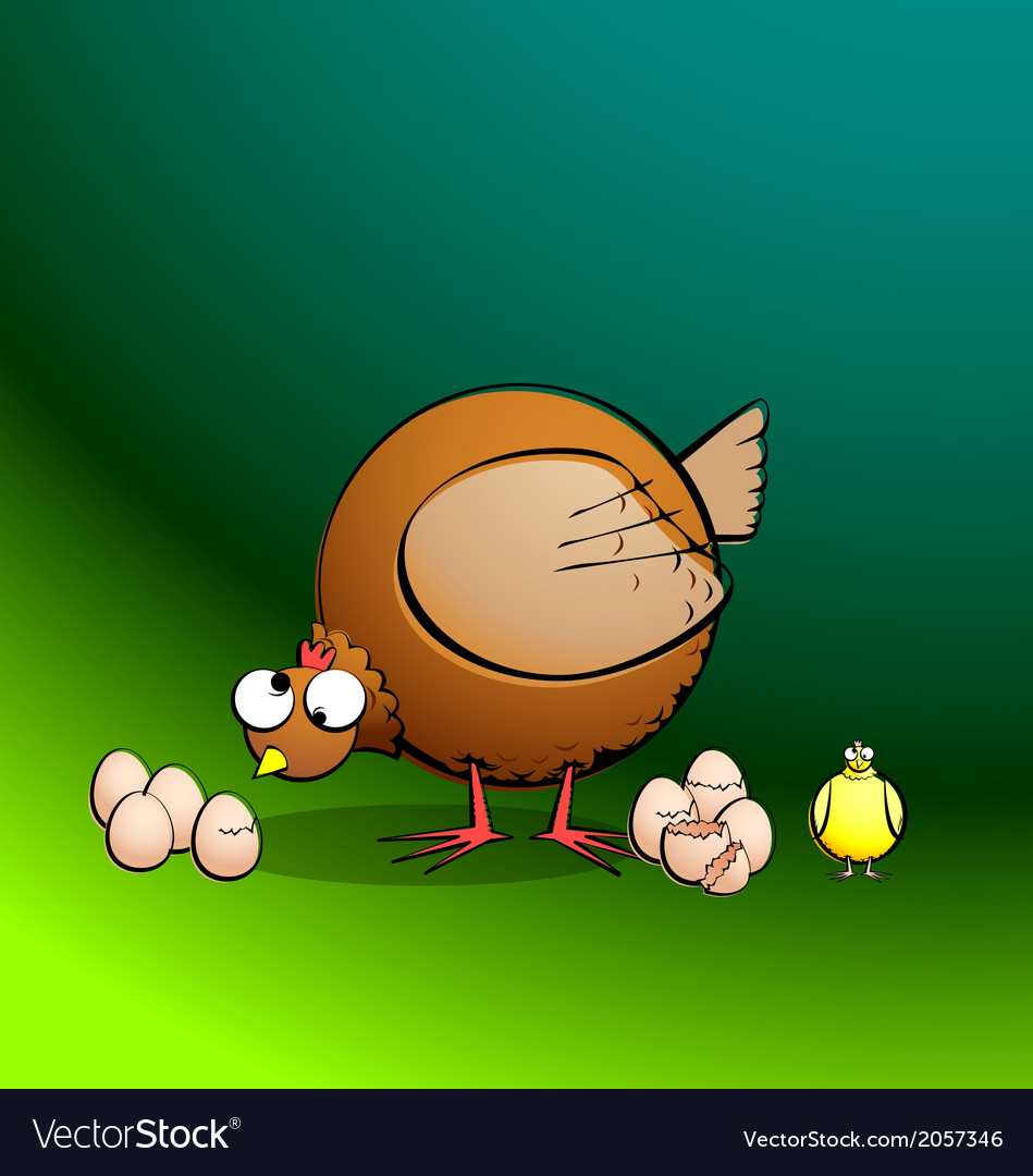Chickensrround hen eggs and chick vector | Price: 1 Credit (USD $1)