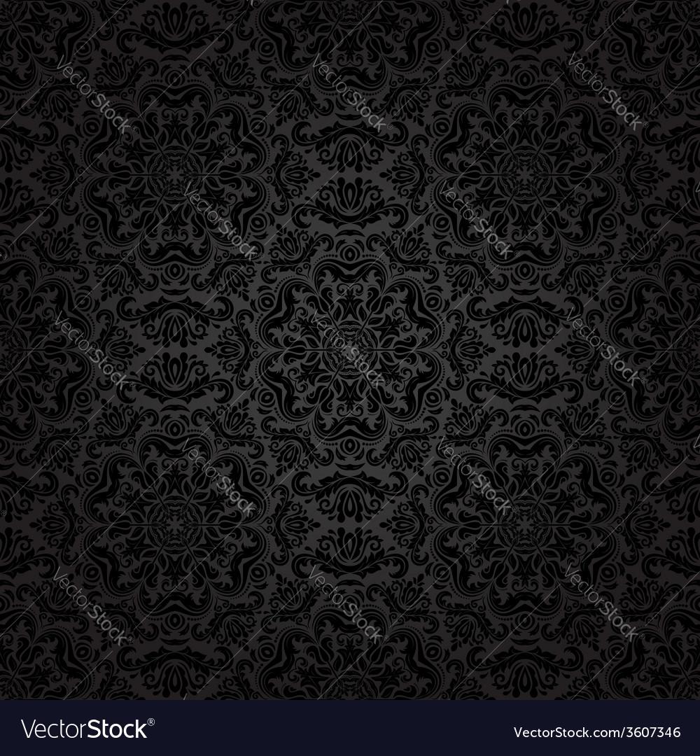 Damask seamless pattern orient dark background vector | Price: 1 Credit (USD $1)