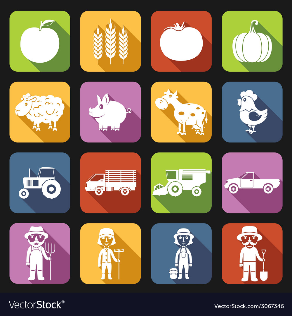Farm icons set flat vector | Price: 1 Credit (USD $1)