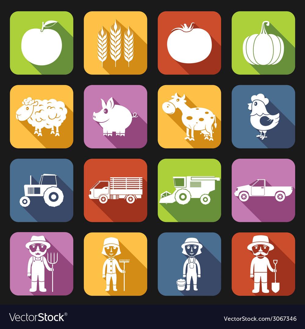 Farm icons set flat vector | Price: 1 Credit (USD $1)