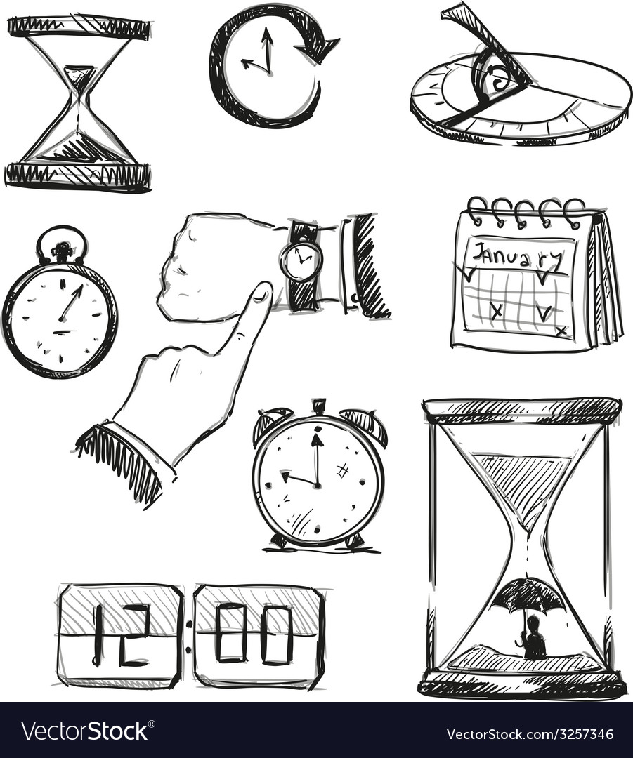 Freehand sketch of time symbols vector | Price: 1 Credit (USD $1)