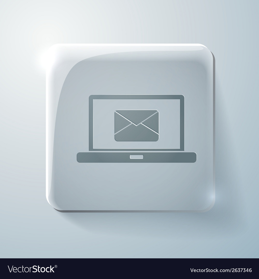 Glass square icon laptop with letter envelope vector | Price: 1 Credit (USD $1)