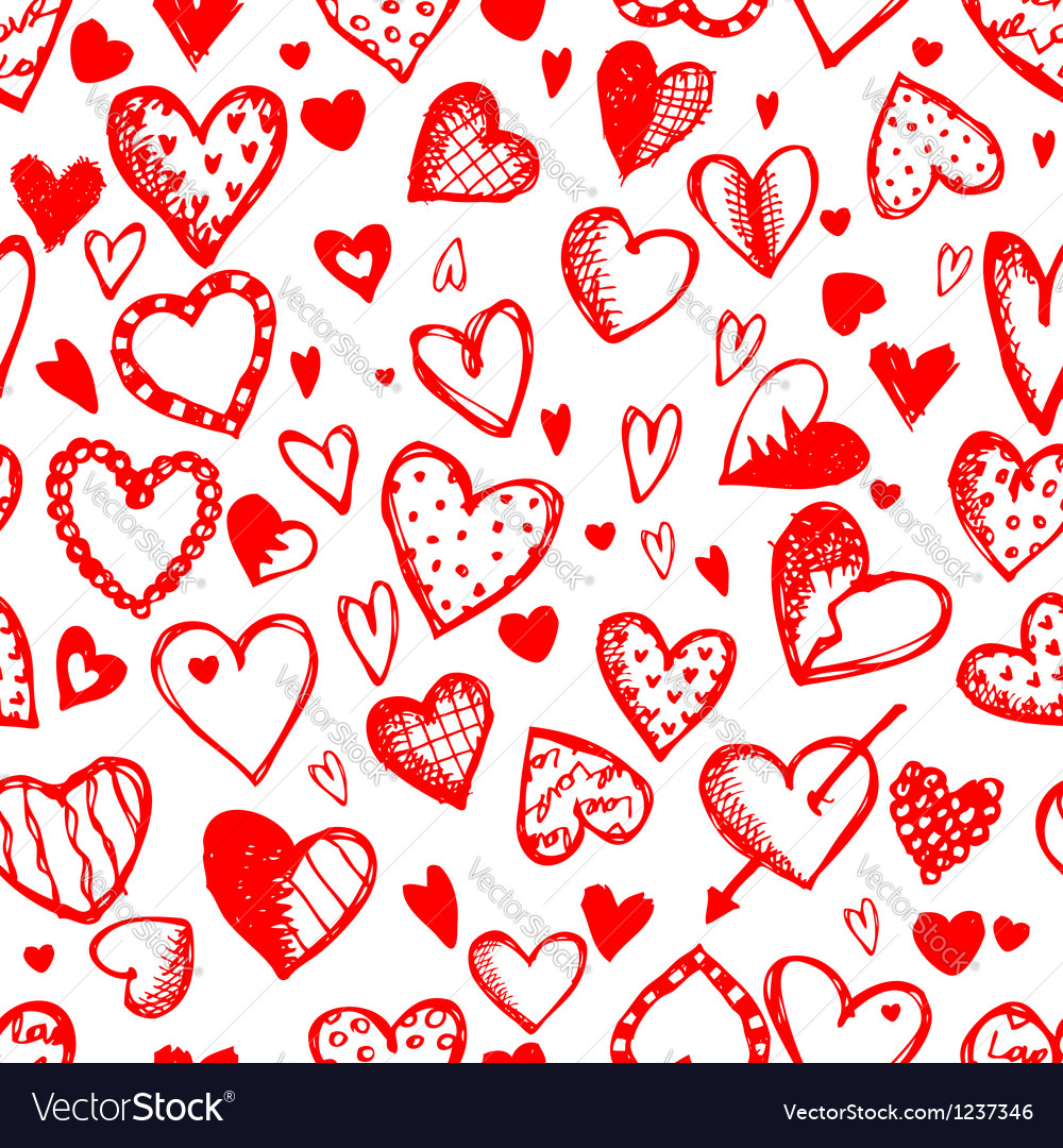 Seamless pattern with valentine hearts sketch vector | Price: 1 Credit (USD $1)