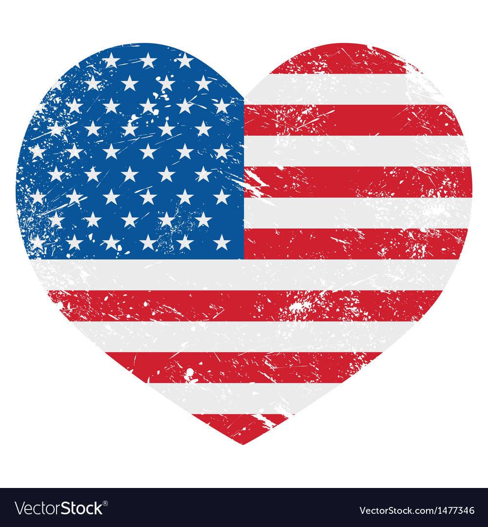 United states on america retro heart flag - vector | Price: 1 Credit (USD $1)