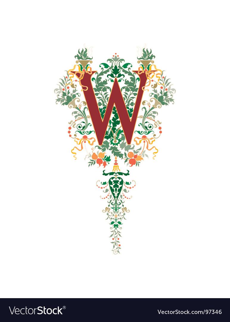 Vintage letter w vector | Price: 1 Credit (USD $1)