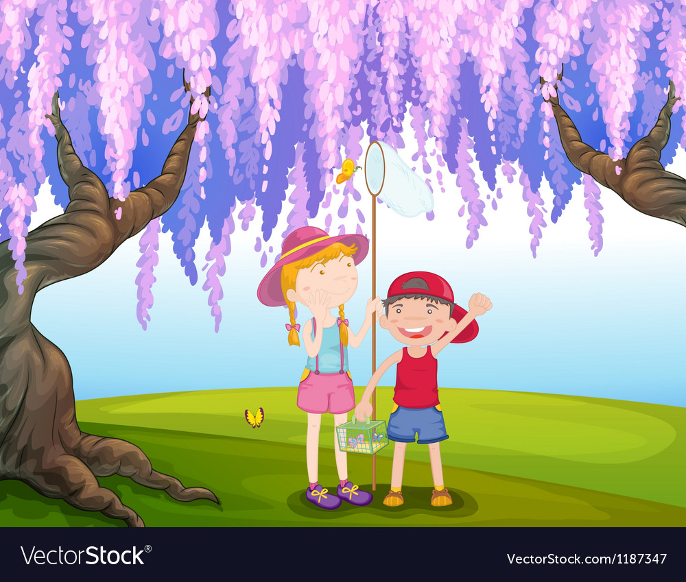 A girl and a boy catching butterfly at the park vector | Price: 1 Credit (USD $1)