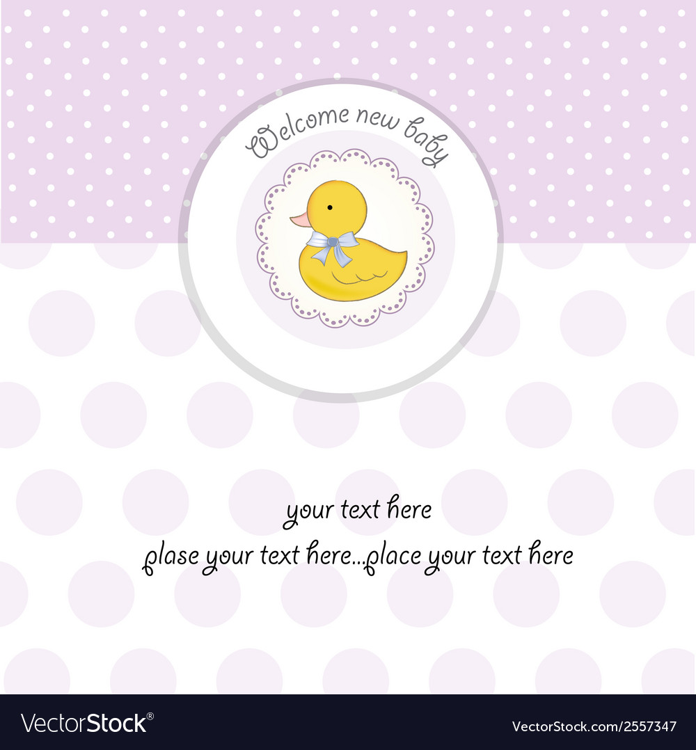 Baby shower card with little duck vector   Price: 1 Credit (USD $1)