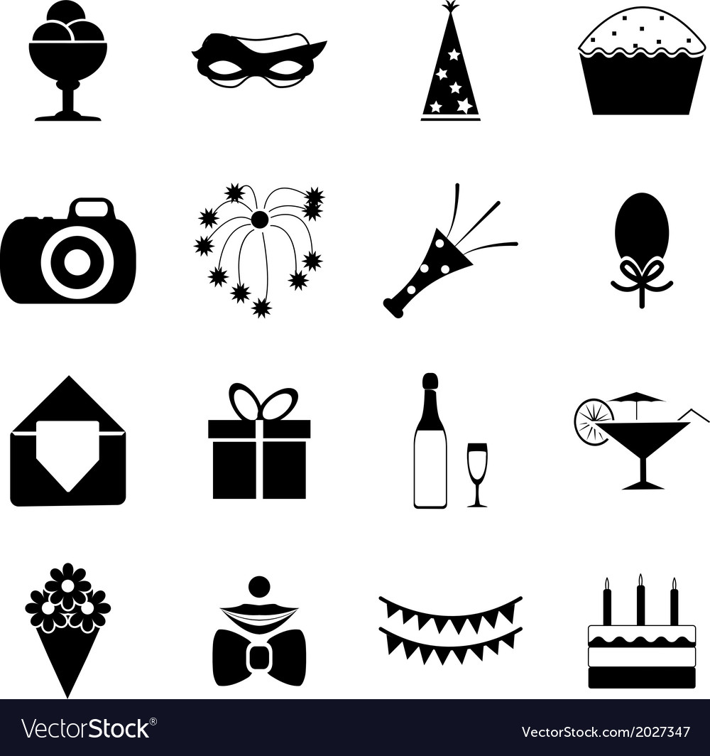 Birthday party celebrate isolated silhouette icons vector | Price: 1 Credit (USD $1)