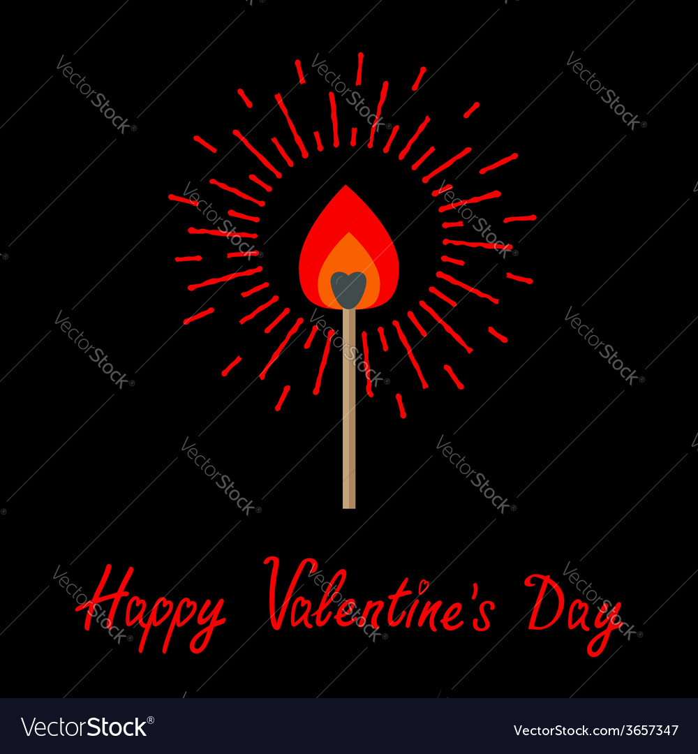 Burning love match with red and orange fire light vector | Price: 1 Credit (USD $1)