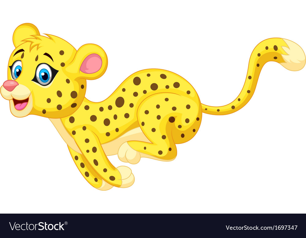 Cheetah cartoon running vector | Price: 1 Credit (USD $1)