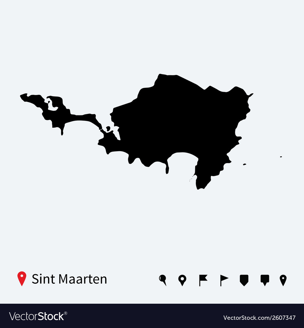 High detailed map of sint maarten with navigation vector | Price: 1 Credit (USD $1)