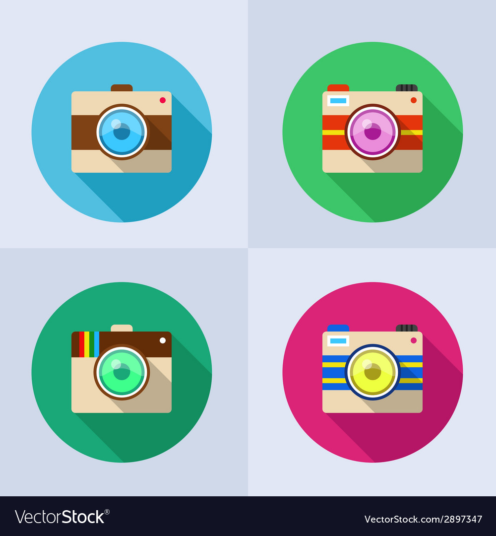 Icon set of camera with long shadow vector | Price: 1 Credit (USD $1)