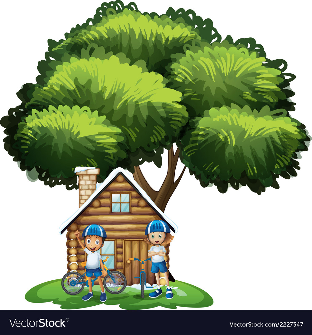 Kids standing outside the house under the big tree vector | Price: 1 Credit (USD $1)