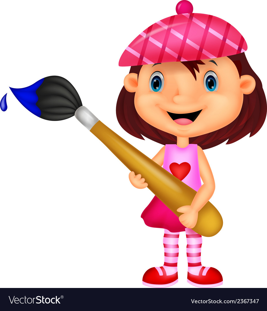 Little girl cartoon is painting with paintbrush vector | Price: 1 Credit (USD $1)