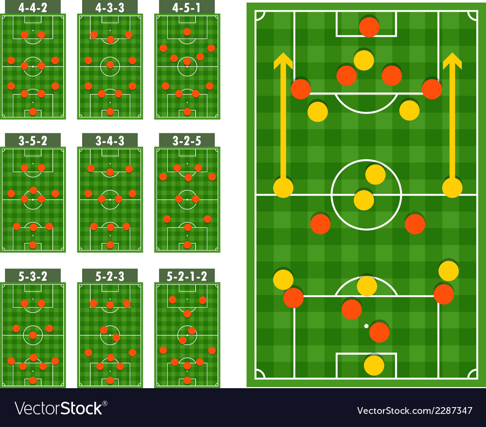 Main football strategy schemes vector | Price: 1 Credit (USD $1)