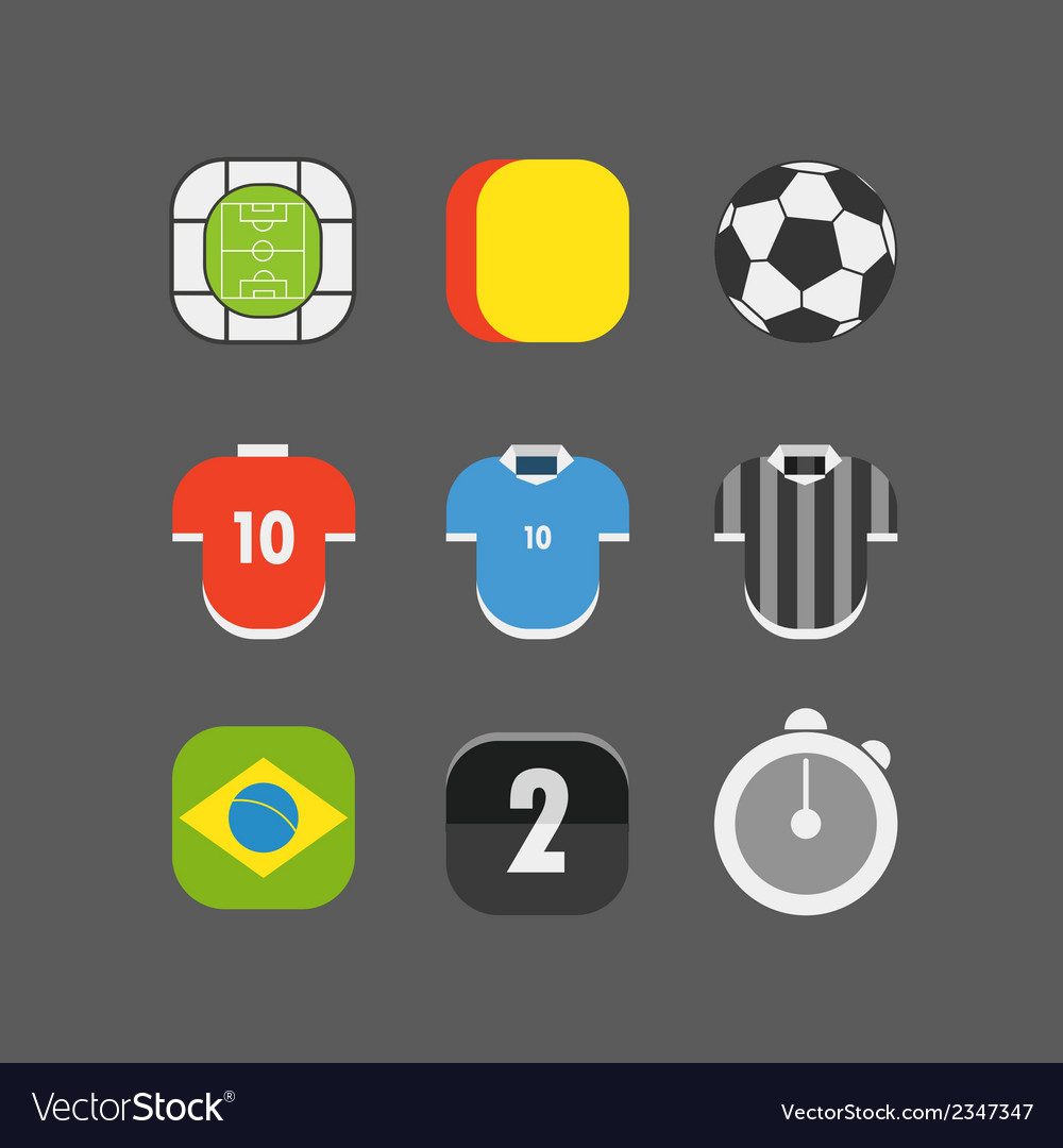 Soccer match icons flat design vector | Price: 1 Credit (USD $1)