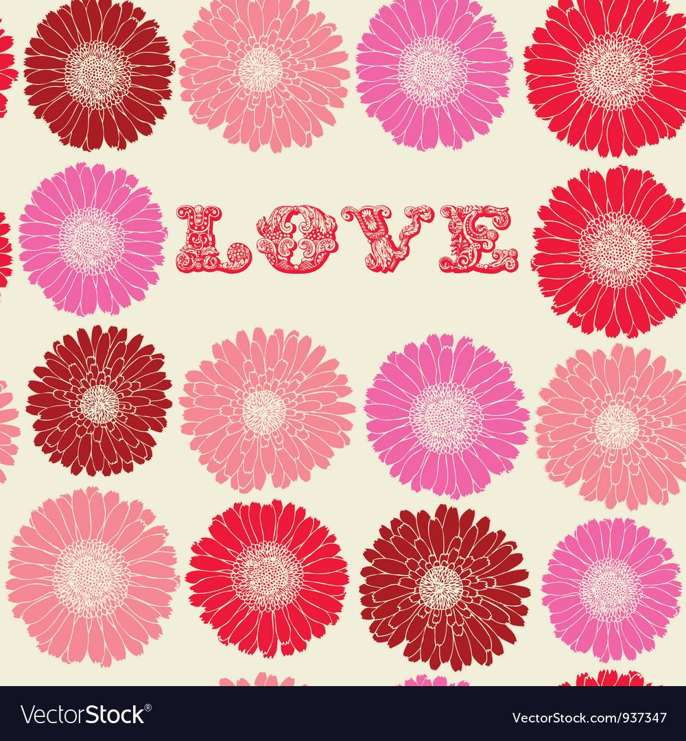 Vintage floral love pattern vector | Price: 1 Credit (USD $1)