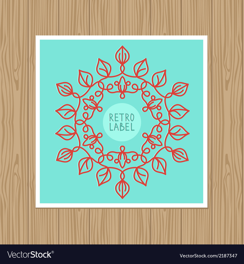 Vintage greeting card with outline frame vector | Price: 1 Credit (USD $1)