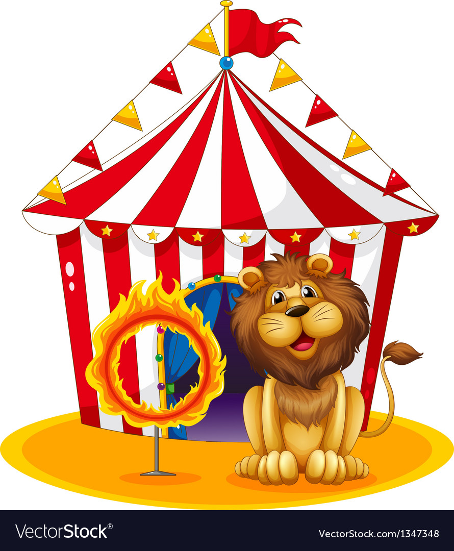 A lion beside a fire hoop at the circus vector | Price: 1 Credit (USD $1)