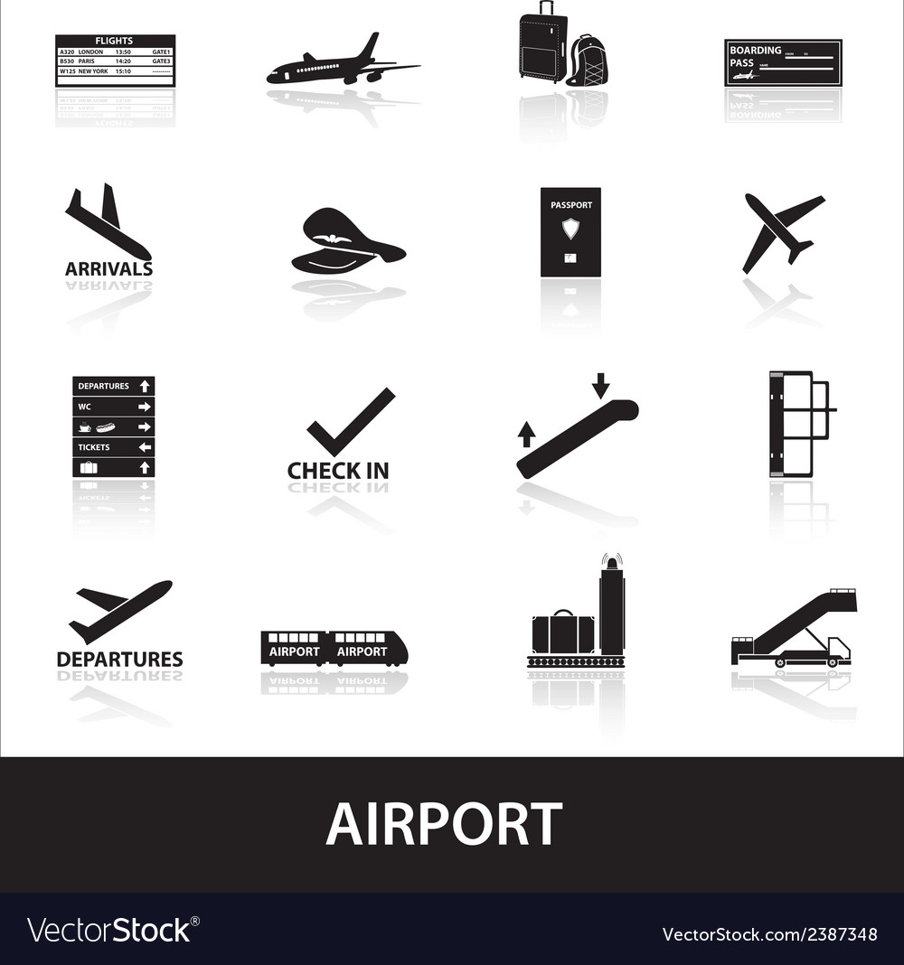 Airport icons set eps10 vector | Price: 1 Credit (USD $1)