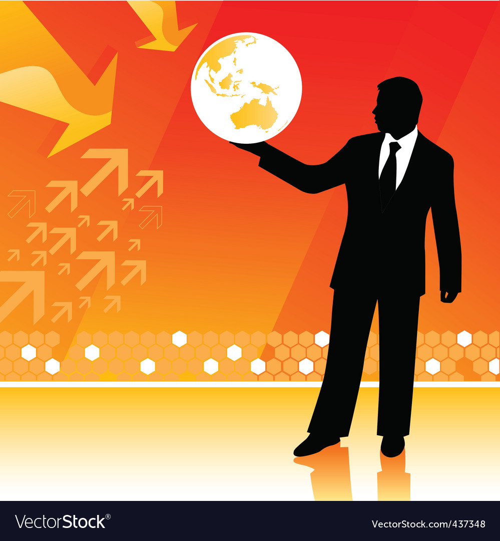 Businessman holding planet vector | Price: 1 Credit (USD $1)