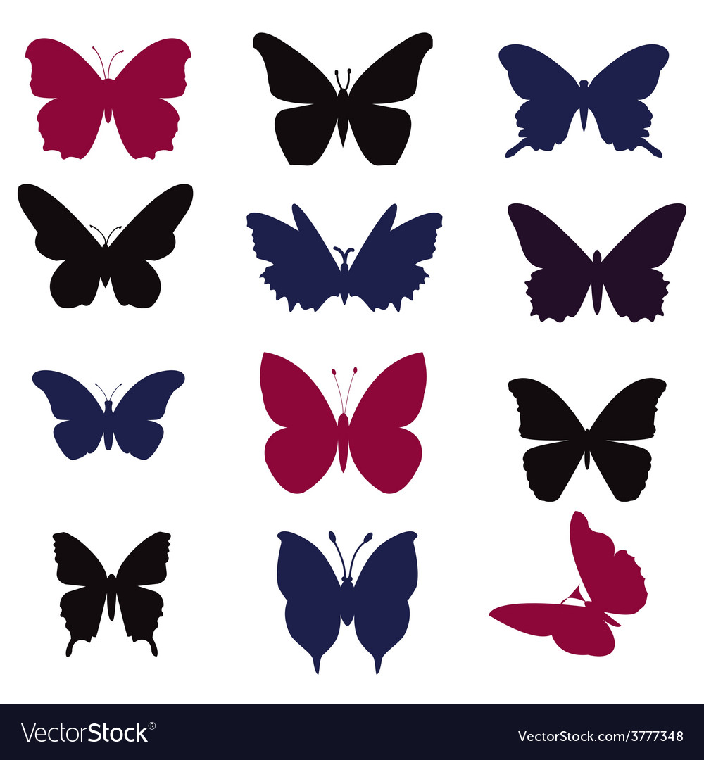 Butterflies silhouette - vector | Price: 1 Credit (USD $1)