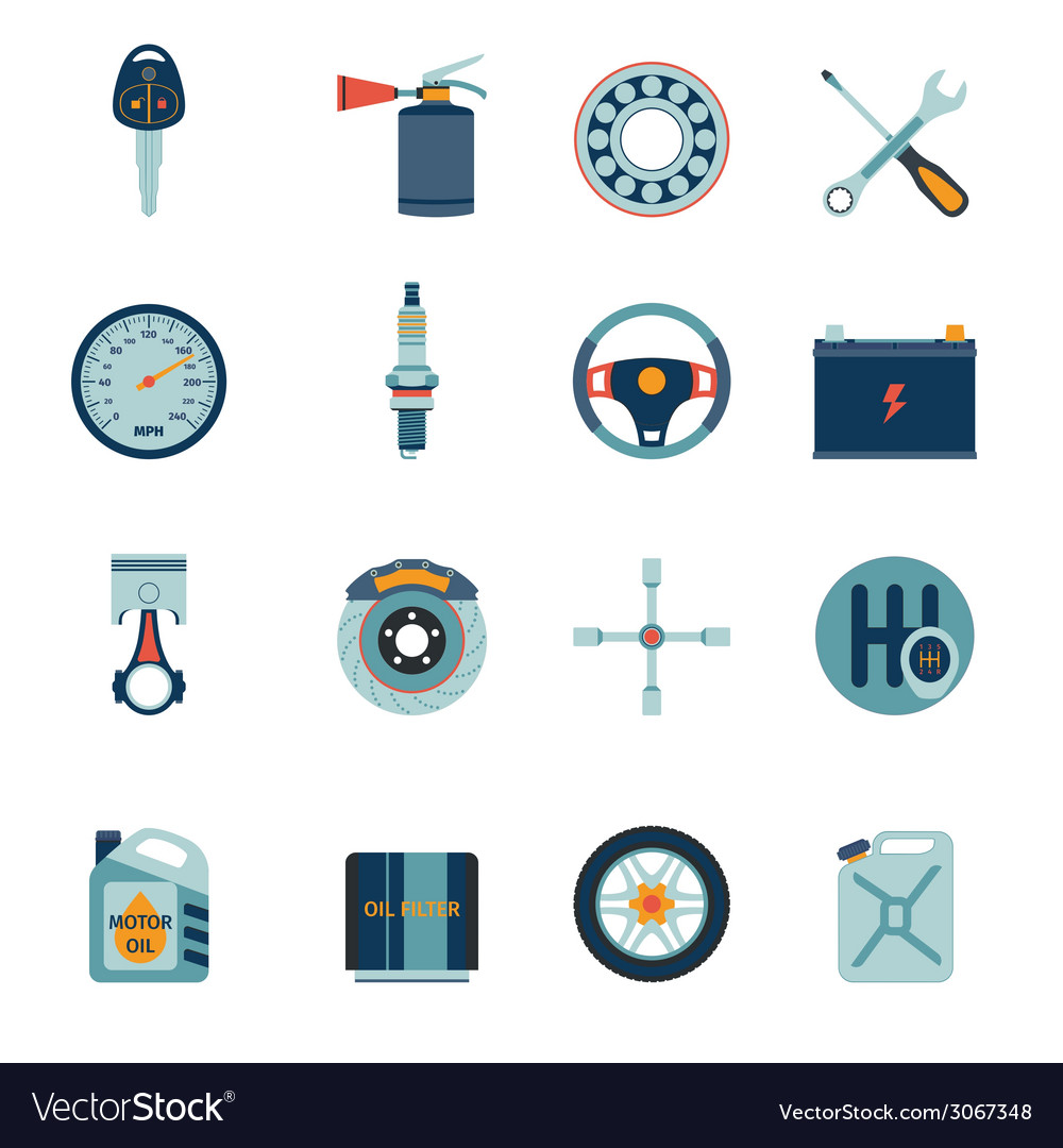 Car parts icons flat vector | Price: 1 Credit (USD $1)
