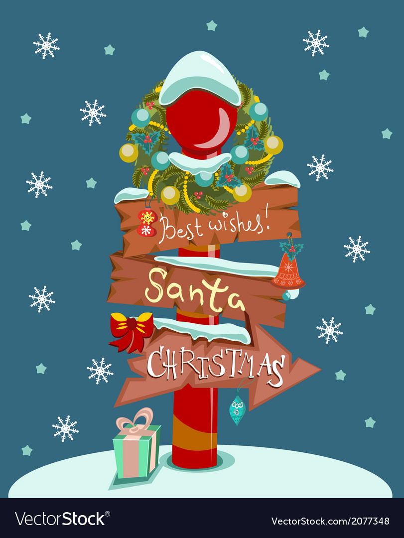 Christmas background with wooden sign vector | Price: 1 Credit (USD $1)