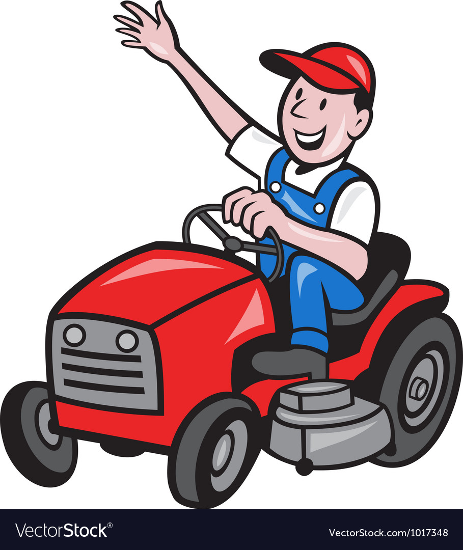 Farmer driving ride on mower tractor vector | Price: 1 Credit (USD $1)