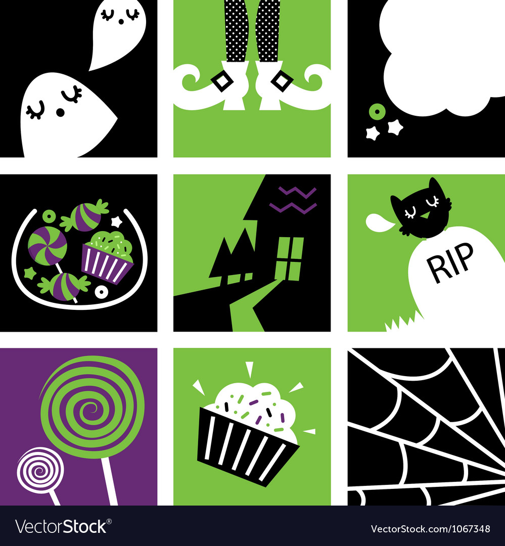 Halloween square icons vector | Price: 1 Credit (USD $1)