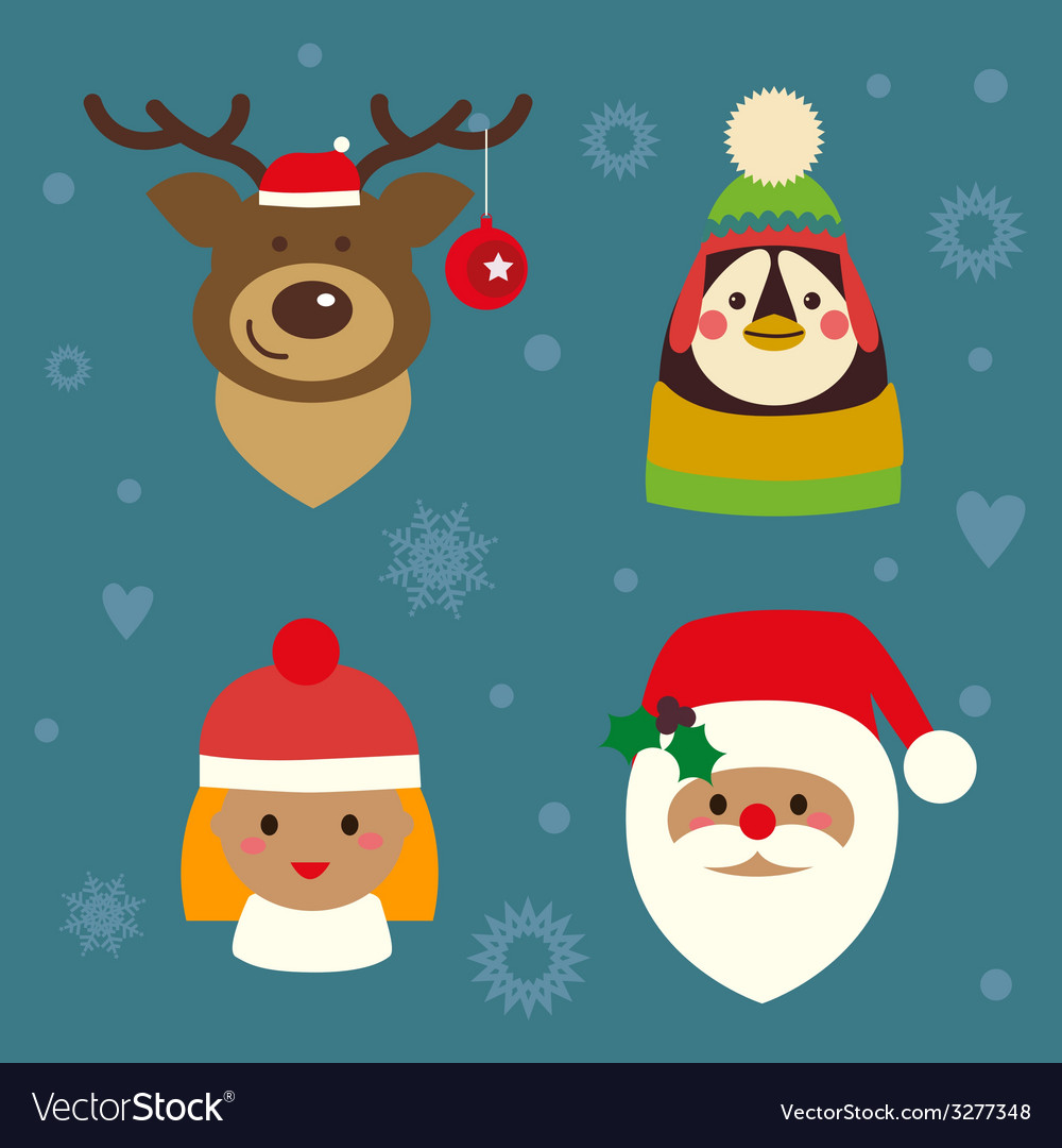 Holiday charactes set vector | Price: 1 Credit (USD $1)