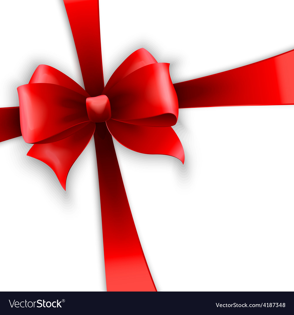 Invitation card with red holiday ribbon and bow vector | Price: 3 Credit (USD $3)